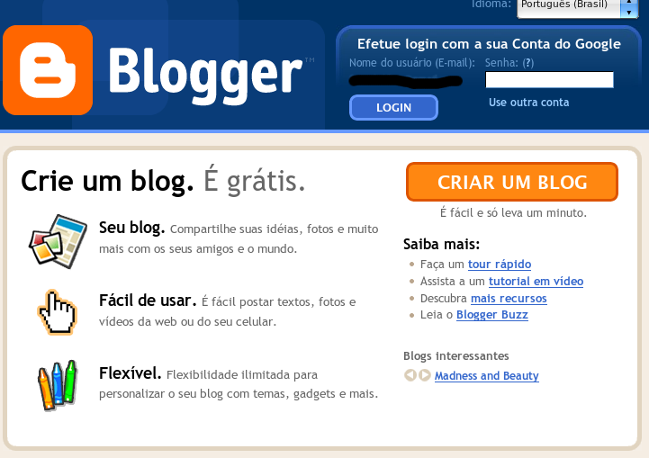 blog gratuito no blogger