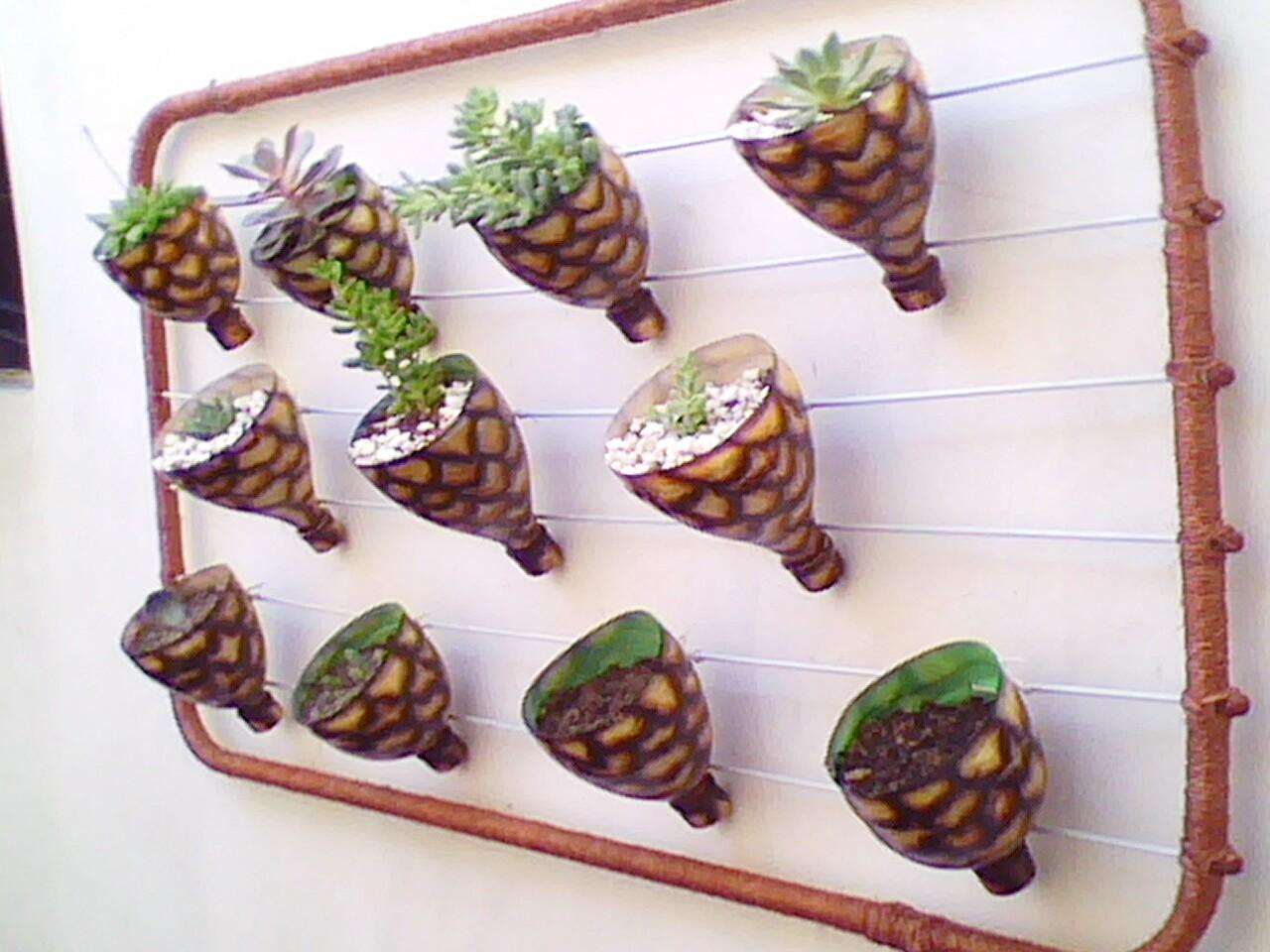 lindo! Como fazer um jardim vertical com garrafas pet  Como Fazer